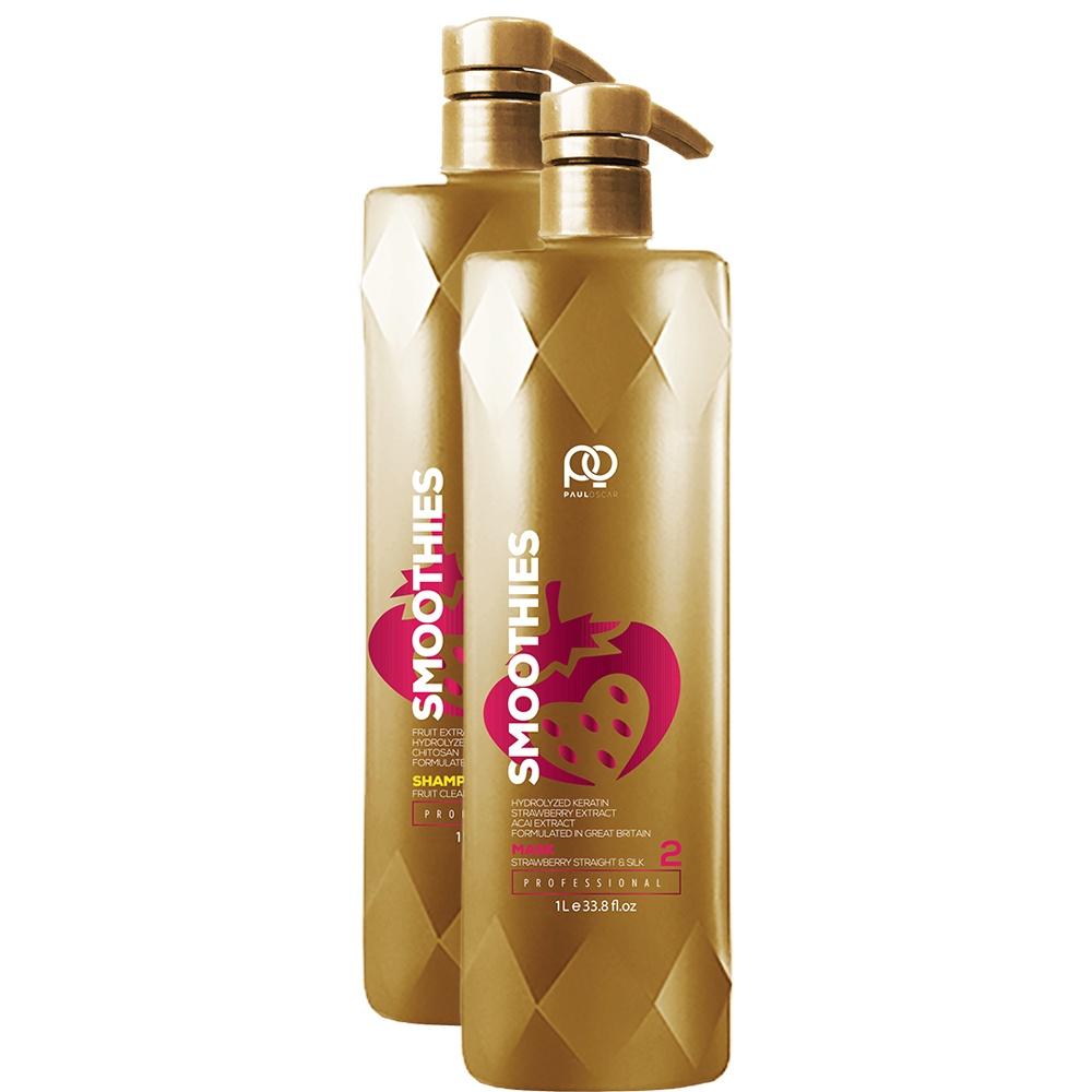 Набор для кератинового выпрямления волос Paul Oscar Smoothies Smooth & Silky Strawberry Набор 1000 ml