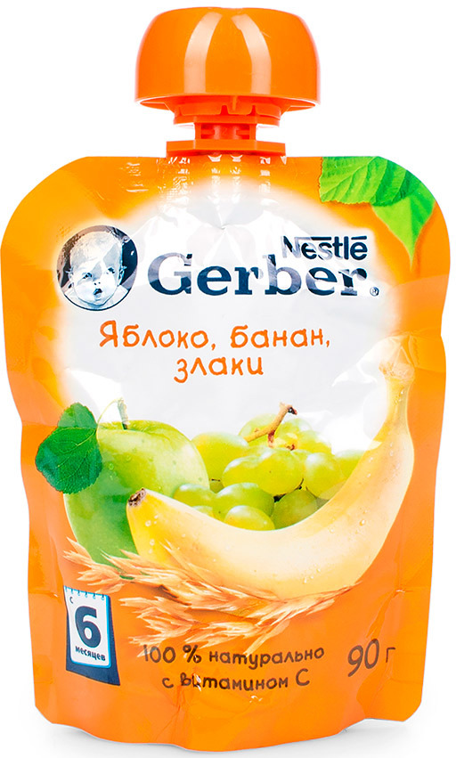 Gerber пюре яблоко, банан и злаки, с 6 месяцев, 90 г