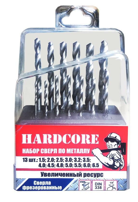 Набор сверл по металлу 13шт.(1,5-6,5 через 0,5мм, 3,2, 4,8мм) Hardcore набор сверл практика 031 297 металл 13шт 1 5 6 5мм в мет кассете сделай сам
