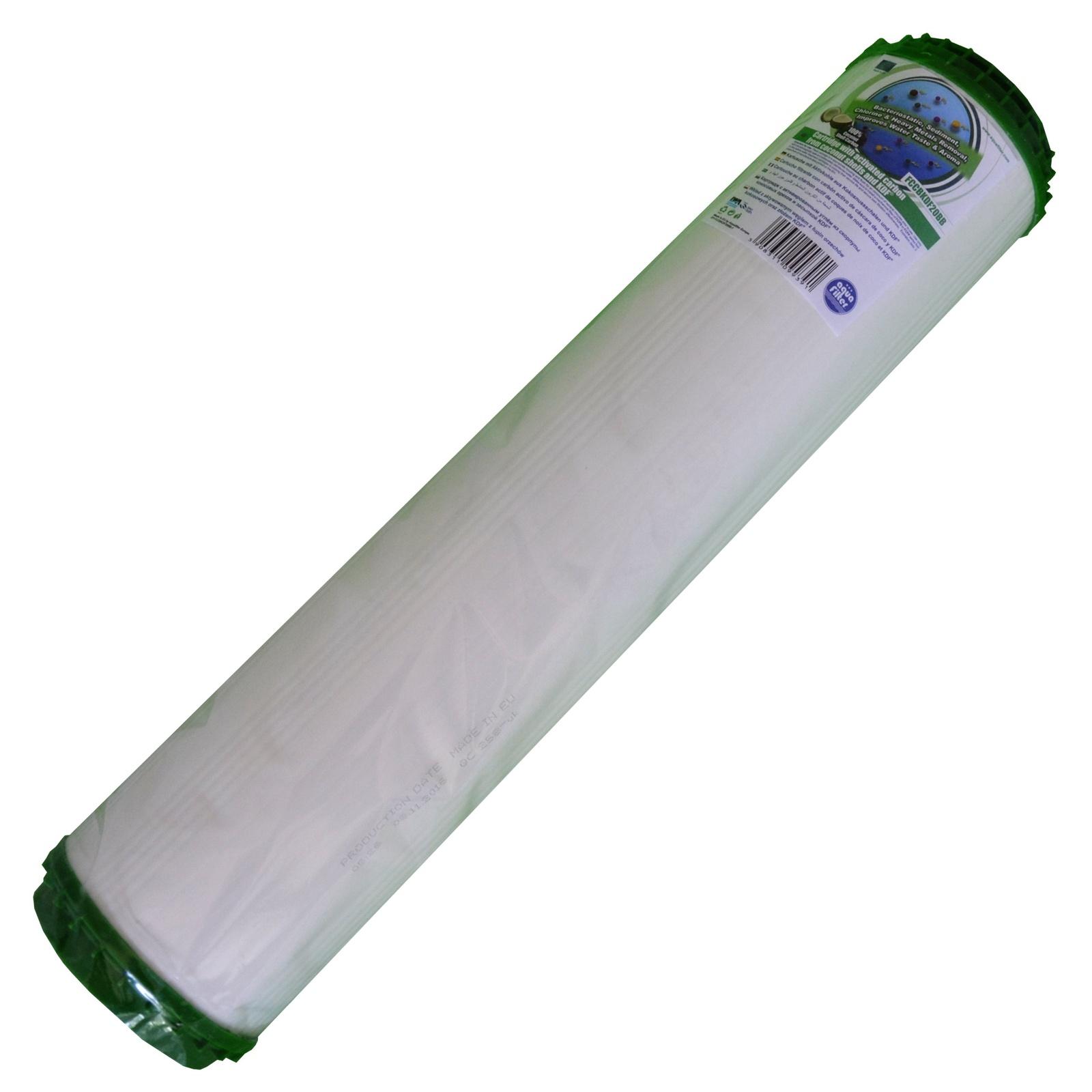 Картридж угольный, комбинированный 20ВВ (активированный уголь из скорлупы кокосовых орехов, гранулы полипропиленового волокна, загрузка KDF) Aquafilter FCCBKDF20BB, 674