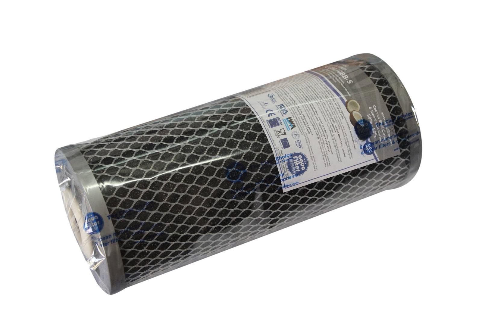 Картридж угольный, серия Silver, карбон-блок 10ВВ (активированный уголь, серебро) Aquafilter FCCBL10BB-S, 746