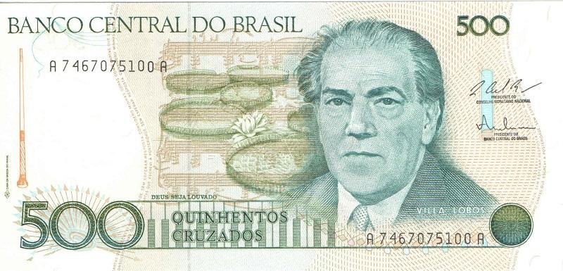 Банкнота номиналом 500 крузадо. Бразилия. 1986-1988 года банкнота номиналом 5 новых крузадо бразилия 1989 год