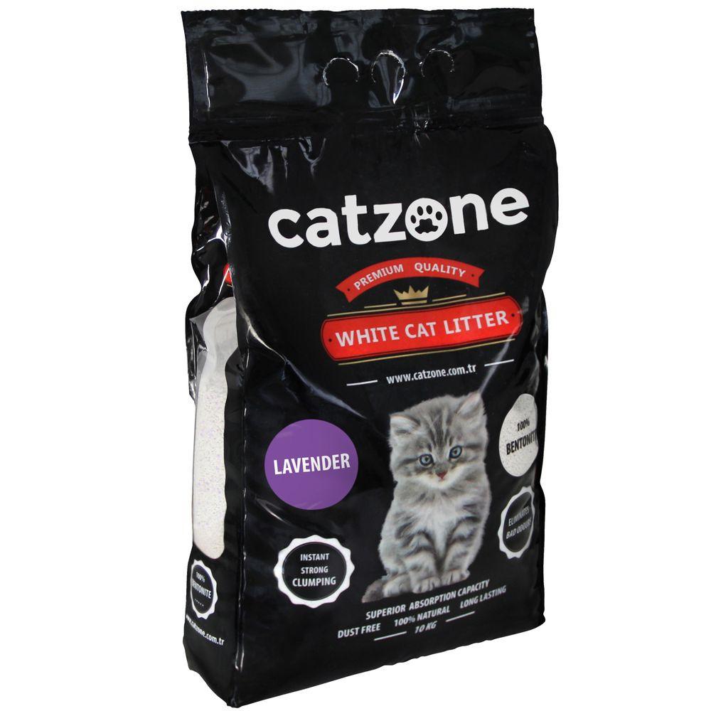Наполнитель для кошачьих туалетов Catzone Lavender, бентонитовый, лаванда, 10 кг catzone наполнитель для кошачьего туалета catzone baby powder 5 2 кг