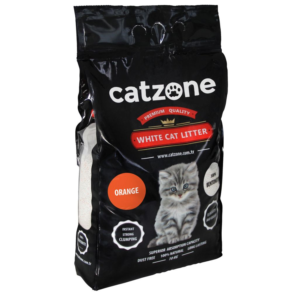 Наполнитель для кошачьих туалетов Catzone Orange, бентонитовый, цитрус, 10 кг catzone наполнитель для кошачьего туалета catzone baby powder 5 2 кг