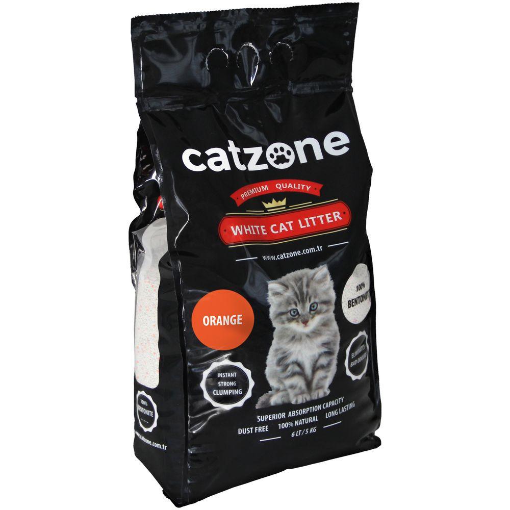 Наполнитель для кошачьих туалетов Catzone Orange, бентонитовый, цитрус, 5 кг catzone наполнитель для кошачьего туалета catzone baby powder 5 2 кг