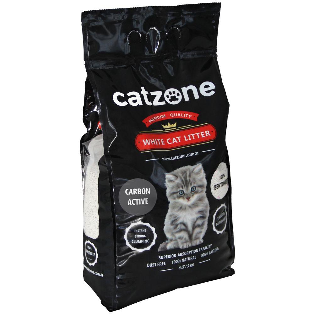 Наполнитель для кошачьих туалетов Catzone Active Carbon, бентонитовый, с активированным углем, 5 кг catzone наполнитель для кошачьего туалета catzone baby powder 5 2 кг
