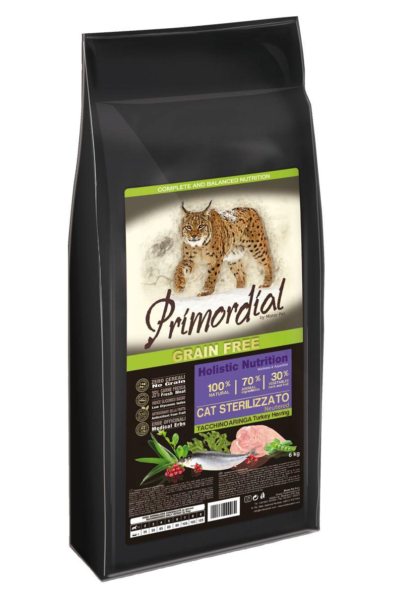 Корм сухой Primordial Neutered, для стерилизованных кошек, беззерновой, индейка и сельдь, 6 кг