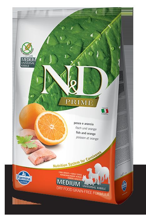 Корм сухой Farmina N&D, для собак, беззерновой, с рыбой и апельсином, 2,5 кг корм сухой farmina n