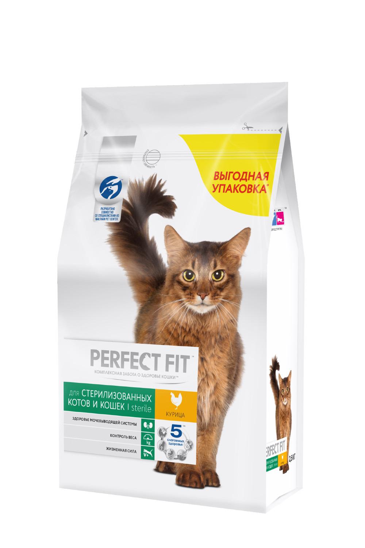 Корм сухой Perfect Fit Курица, для стерилизованных котов и кошек, 2,5 кг