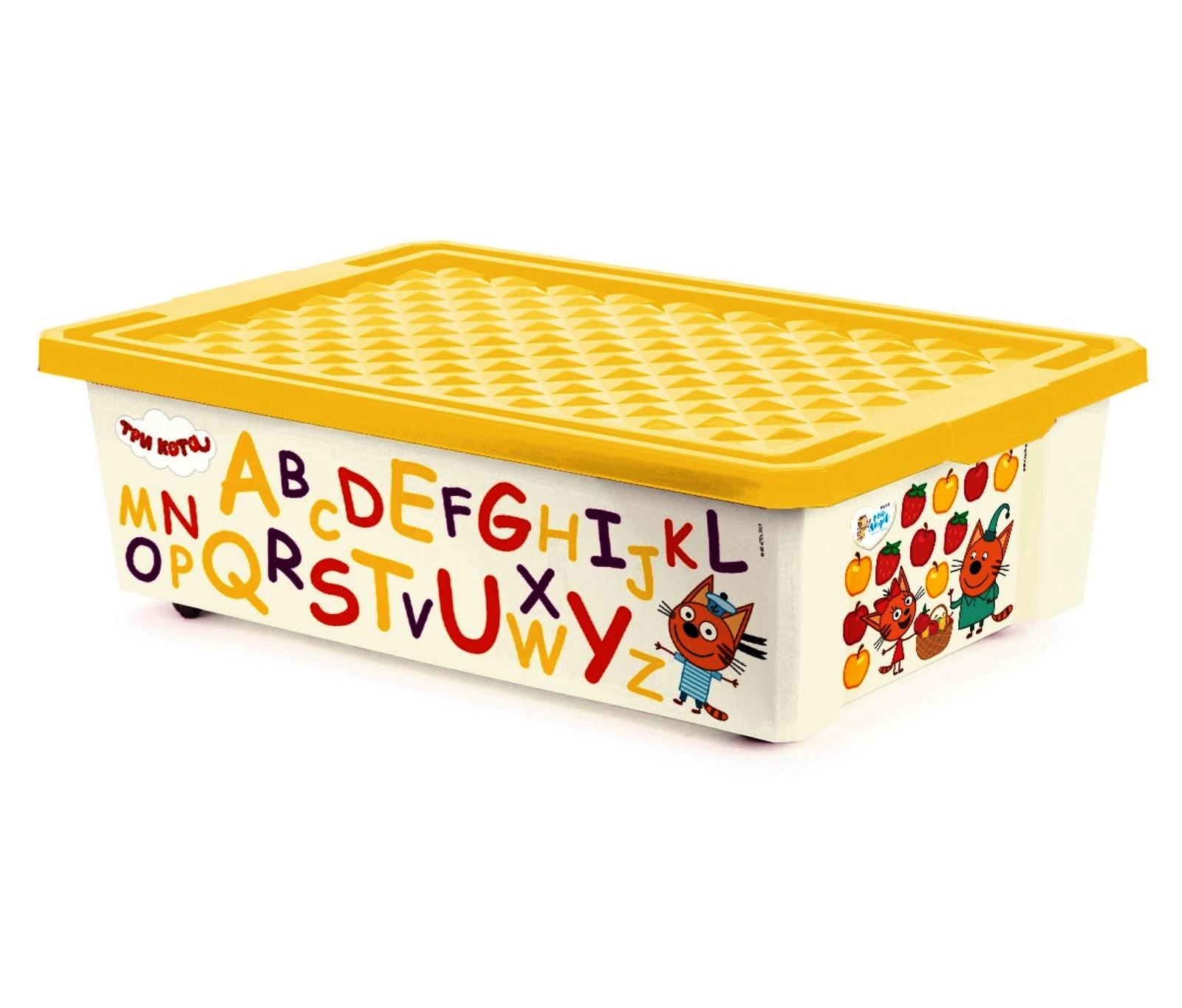 Ящик на колесах под детскую кровать (контейнер, коробка) для игрушек 30 литров с желтой крышкой ТРИ КОТА ОБУЧАЙКА CЧИТАЙ на колесиках, 60х40х17,5 см., Little Angel, Plastic Republic