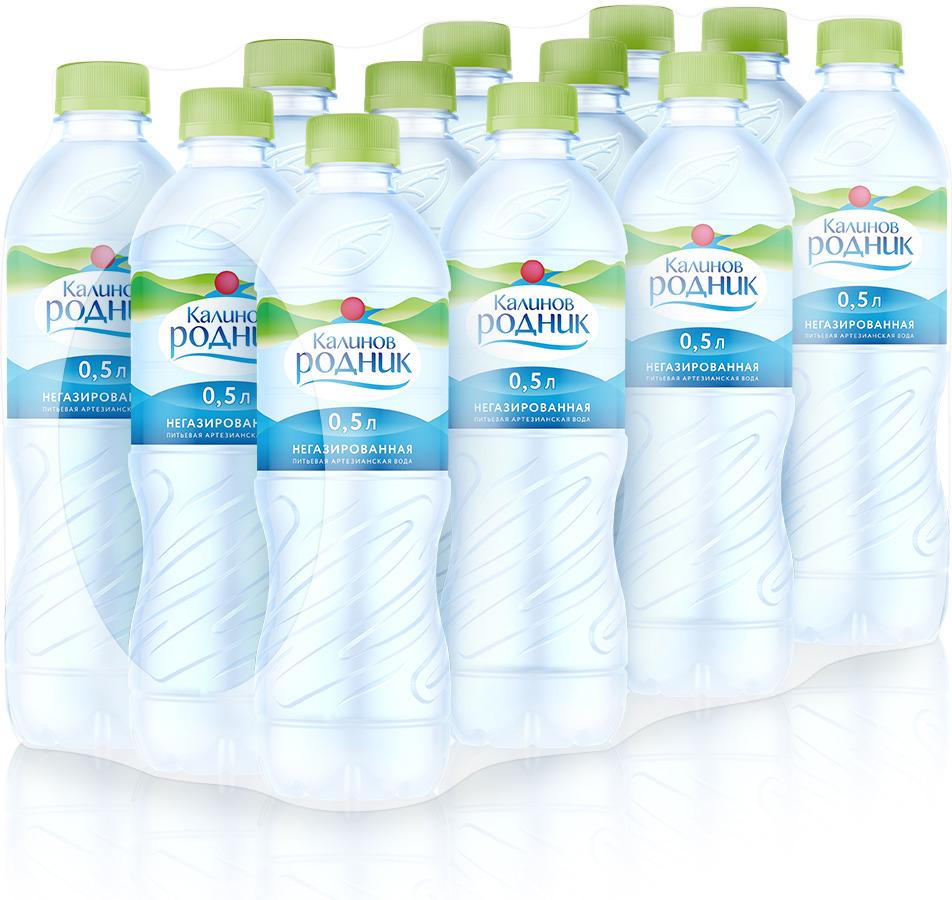Калинов Родник вода питьевая артезианская негазированная, 12 шт по 0,5 л вода питьевая минеральная калинов родник газированная 12 шт по 330 мл