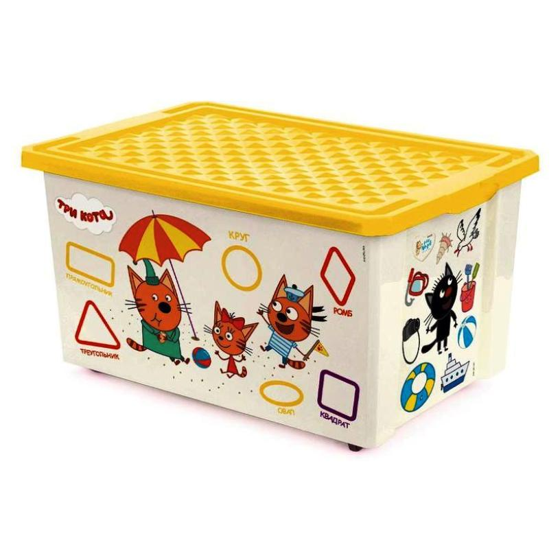 Ящик на колесах (контейнер, коробка) для игрушек 57 литров с желтой крышкой ТРИ КОТА ОБУЧАЙКА CЧИТАЙ, 79,5X59X44 см, хранение детских вещей, пластик, Little Angel