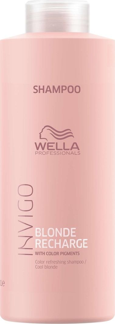 Wella Invigo Blond Recharge Шампунь-нейтрализатор желтизны для холодных светлых оттенков, 1 л