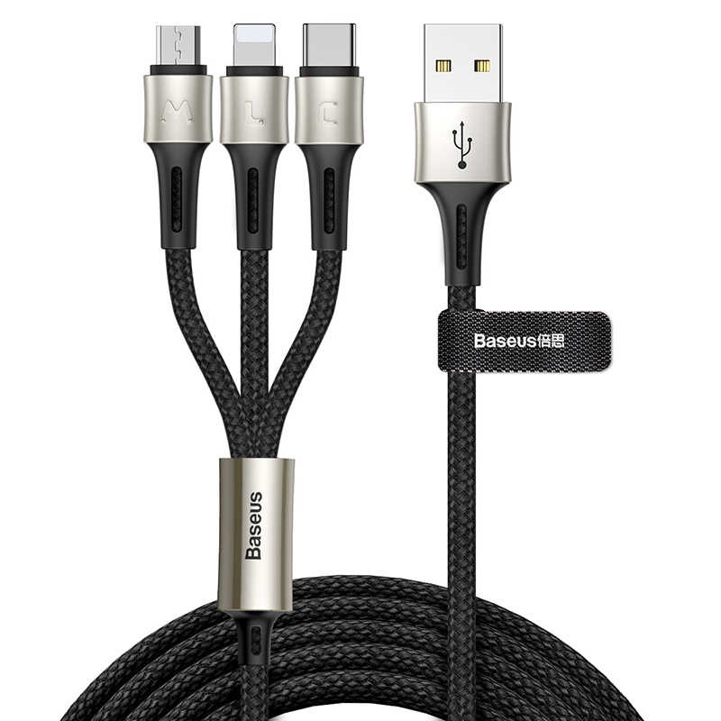 Кабель Baseus caring touch selection 1-in-3 USB cable 1.2m Black baseus 5 in 1 1 м ca5in1 01 кабель microusb lightning usb c black