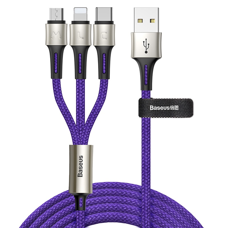 Кабель Baseus caring touch selection 1-in-3 USB cable 1.2m Blue