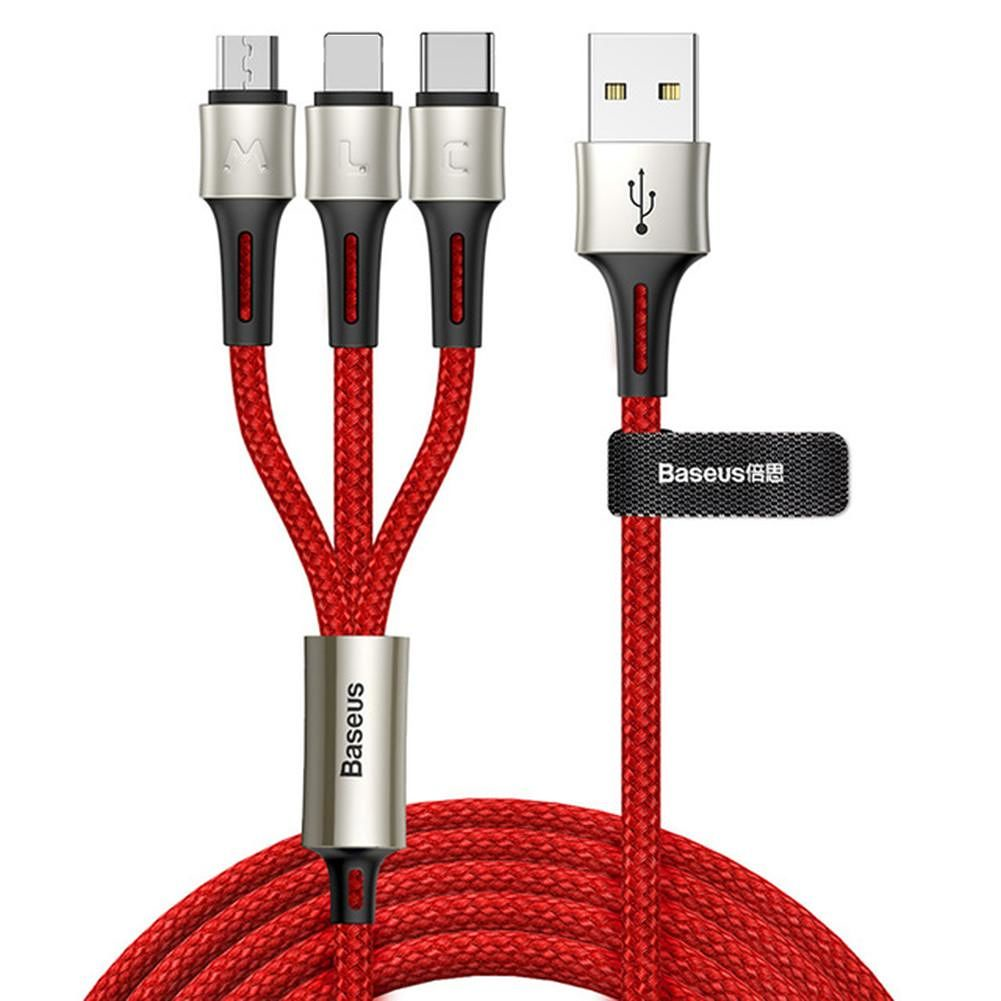 Кабель Baseus caring touch selection 1-in-3 USB cable 1.2m Red baseus 5 in 1 1 м ca5in1 01 кабель microusb lightning usb c black