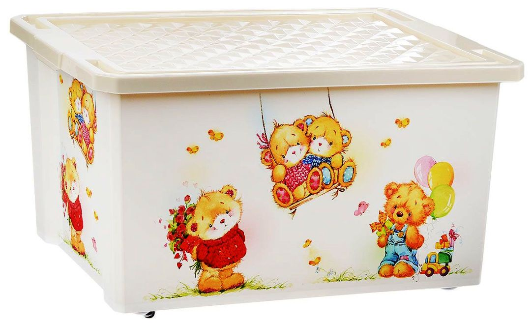 Ящик на колесах (контейнер, коробка) для игрушек с крышкой хранение детских вещей цена и фото