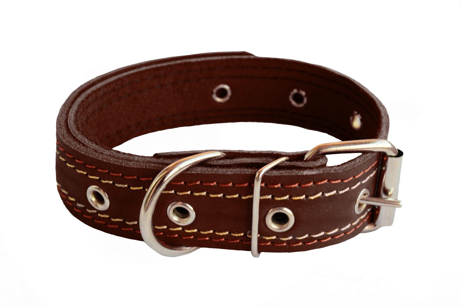 Ошейник KisPis кожаный, коричневый