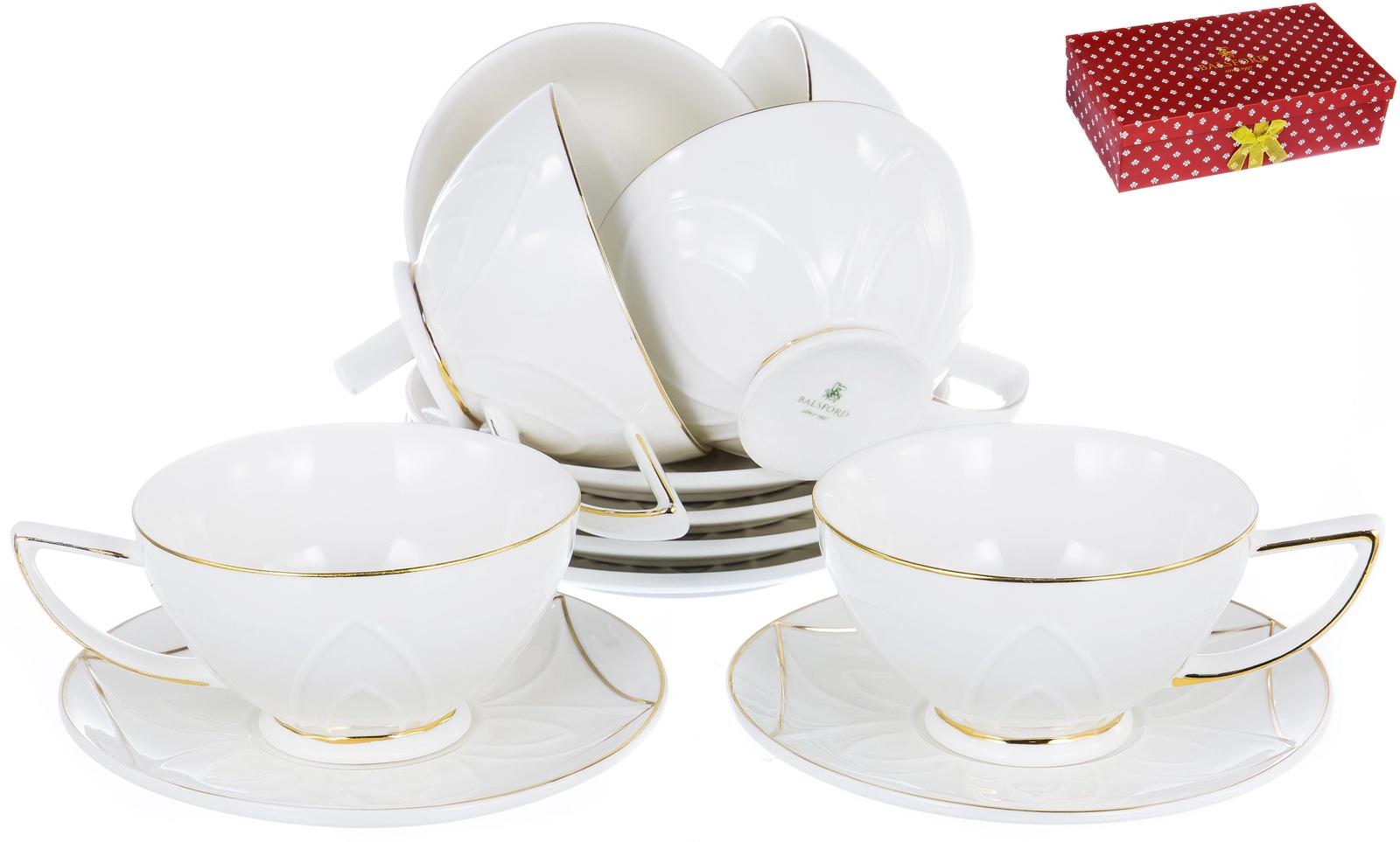 ГРАЦИЯ, набор чайный, 6 чашек 200мл, 6 блюдец, NEW BONE CHINA, декор - белый с золотом, подарочная упаковка, ТМ Balsford, артикул 101-12007