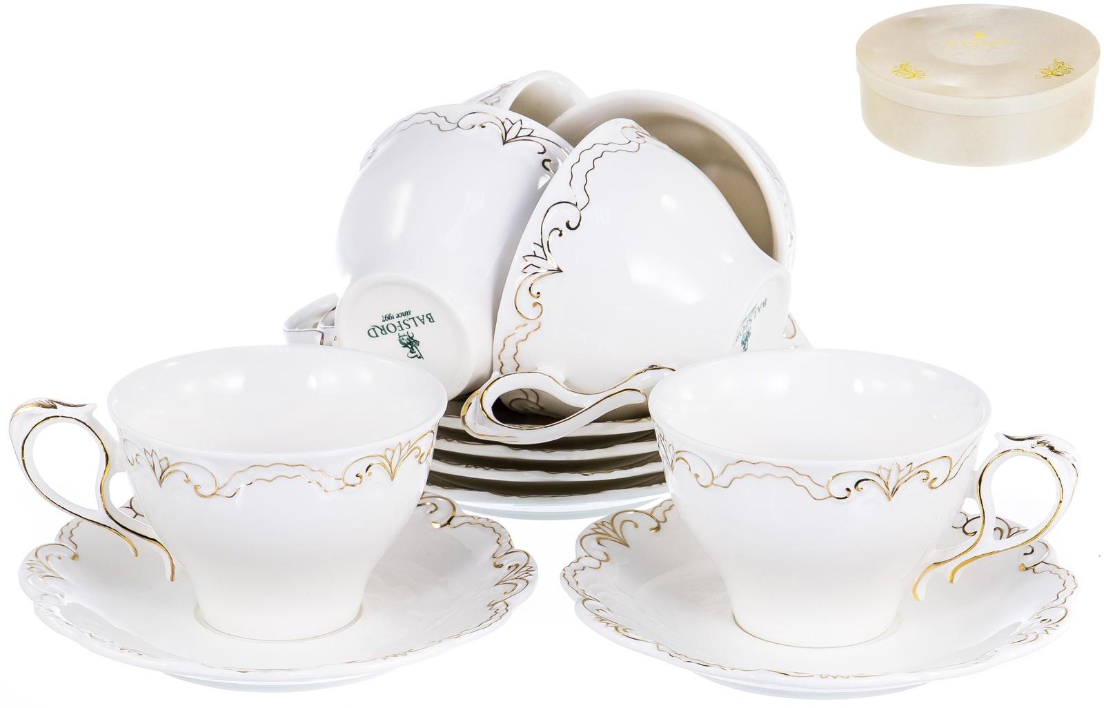 ГРАЦИЯ ФАНТАЗИЯ, набор чайный, 6 чашек 275мл, 6 блюдец, NEW BONE CHINA, декор белоснежный с золотом, подарочная упаковка, ТМ Balsford, артикул 101-29010 стоимость