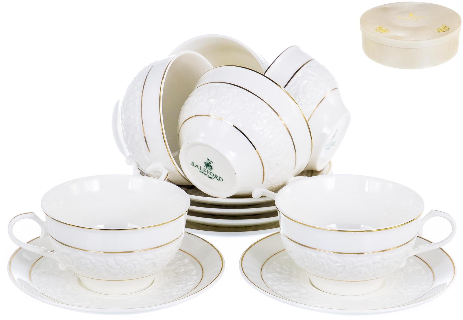 ГРАЦИЯ РОЗАЛИЯ, набор чайный, 6 чашек 250мл, 6 блюдец, NEW BONE CHINA, декор белоснежный с золотом, подарочная упаковка, ТМ Balsford, артикул 101-29007 стоимость