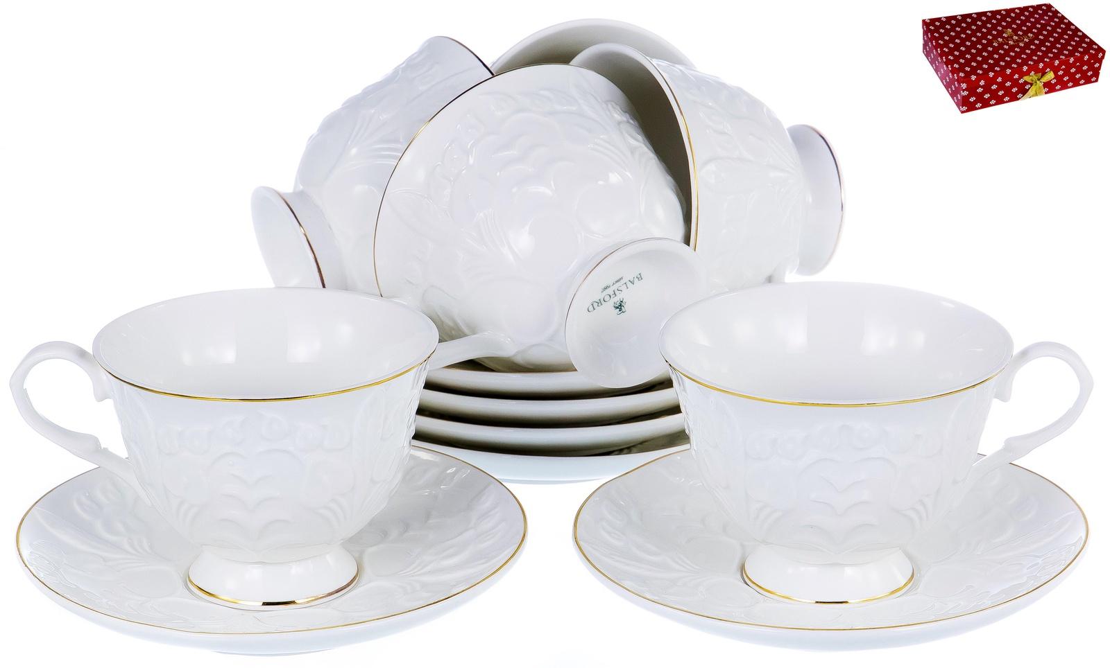 ГРАЦИЯ, набор чайный, 6 чашек 220мл, 6 блюдец, NEW BONE CHINA, белый рельефный рисунок с золотом, прямоугольная подарочная упаковка с окном и бантом, ТМ Balsford, артикул 101-30002