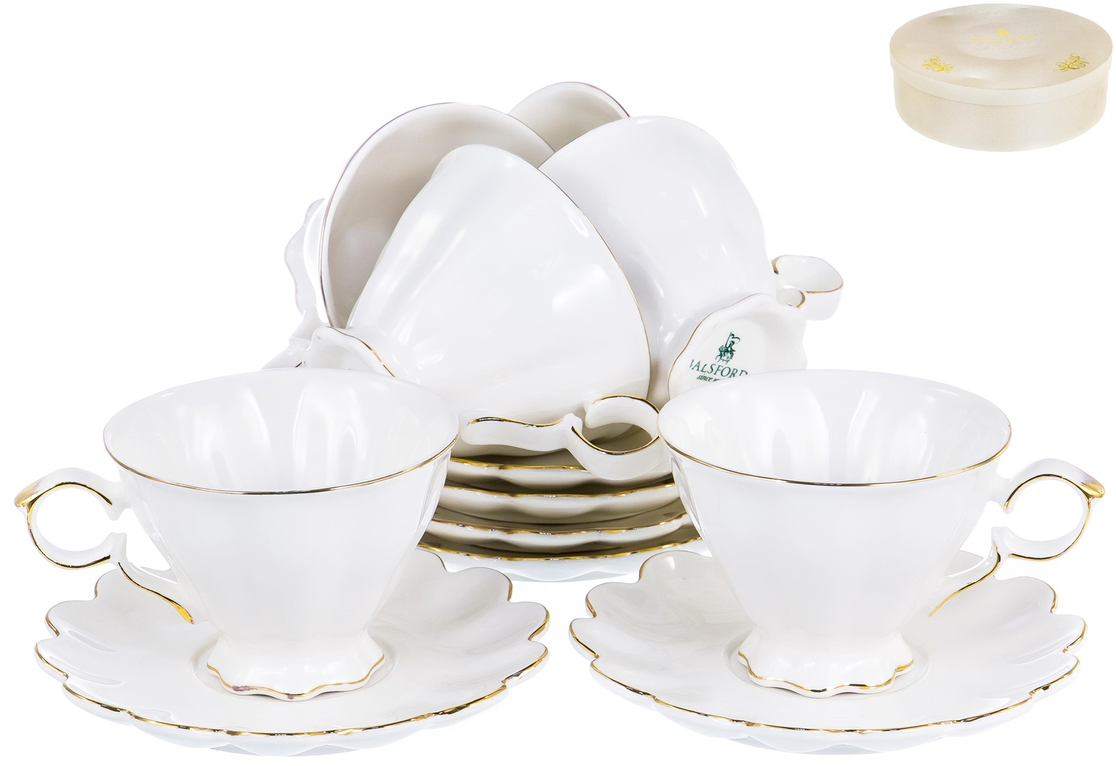 ГРАЦИЯ, набор чайный, 6 чашек 250мл, 6 блюдец, NEW BONE CHINA, декор белоснежный с золотом, подарочная упаковка, ТМ Balsford, артикул 101-29014 стоимость