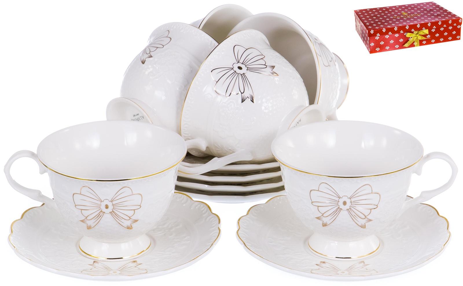 ГРАЦИЯ, набор чайный, 6 чашек 220мл, 6 блюдец, NEW BONE CHINA, белый рельефный рисунок с золотом, прямоугольная подарочная упаковка с окном и бантом, ТМ Balsford, артикул 101-30005
