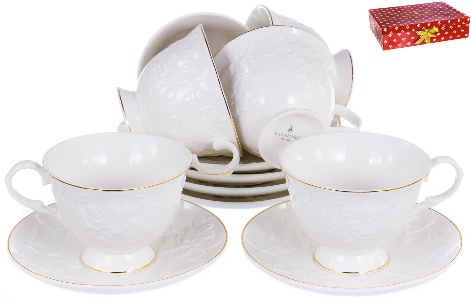 ГРАЦИЯ, набор чайный, 6 чашек 220мл, 6 блюдец, NEW BONE CHINA, белый рельефный рисунок с золотом, прямоугольная подарочная упаковка с окном и бантом, ТМ Balsford, артикул 101-30003