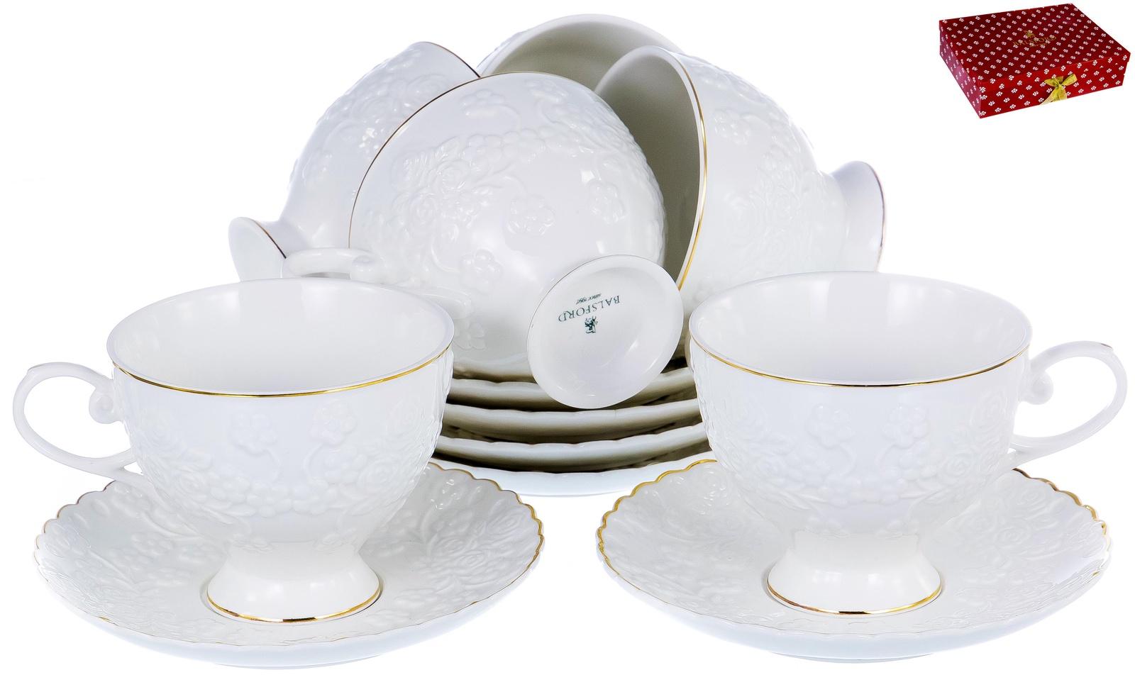 ГРАЦИЯ, набор чайный, 6 чашек 220мл, 6 блюдец, NEW BONE CHINA, белый рельефный рисунок с золотом, прямоугольная подарочная упаковка с окном и бантом, ТМ Balsford, артикул 101-30027