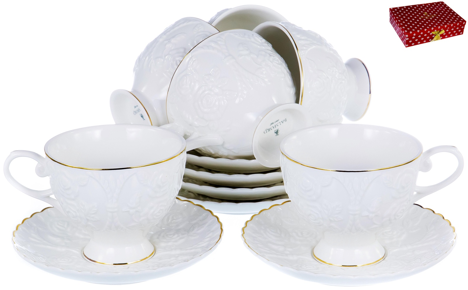 ГРАЦИЯ, набор чайный, 6 чашек 220мл, 6 блюдец, NEW BONE CHINA, белый рельефный рисунок с золотом, прямоугольная подарочная упаковка с окном и бантом, ТМ Balsford, артикул 101-30028