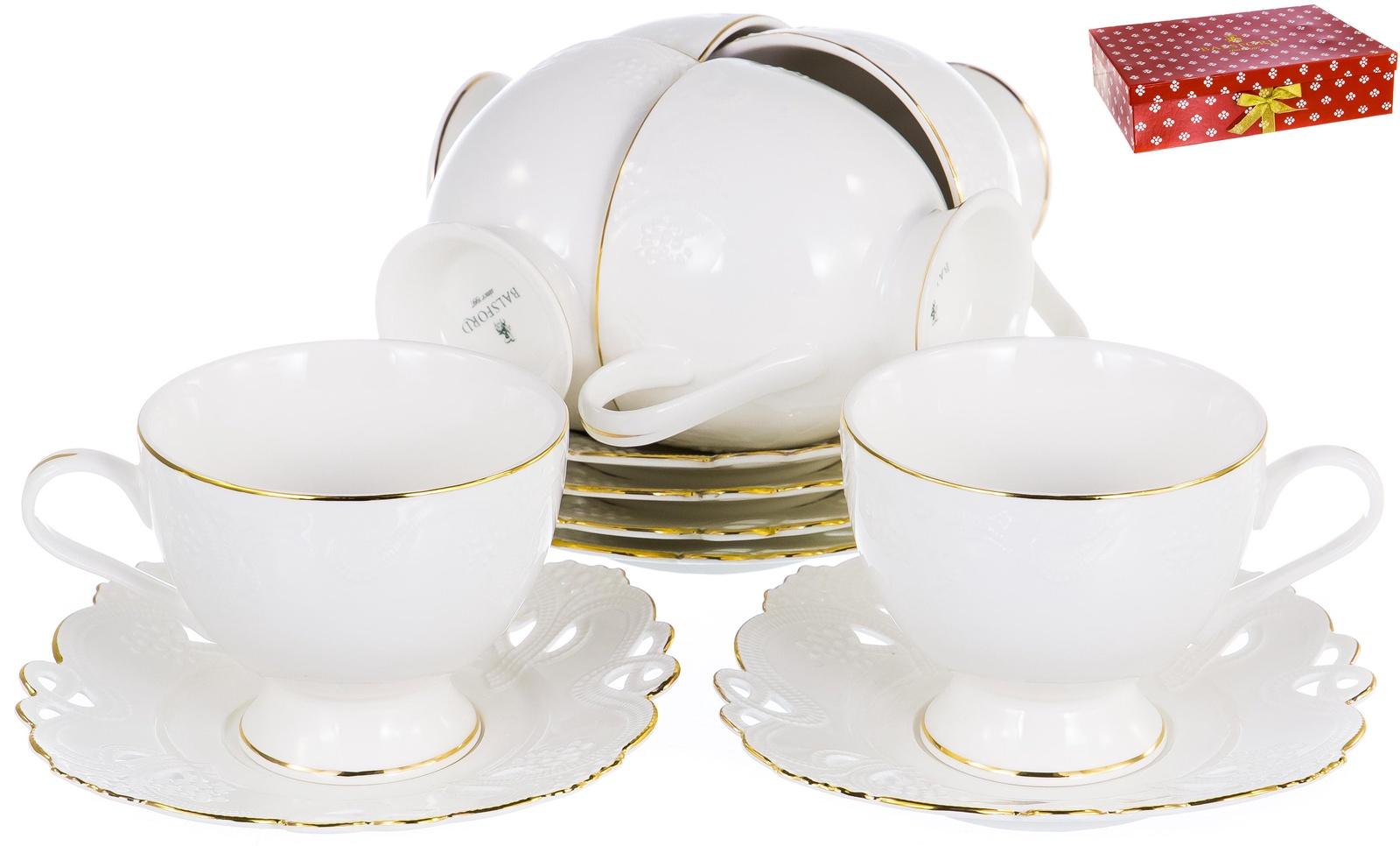 ГРАЦИЯ, набор чайный, 6 чашек 220мл, 6 блюдец, NEW BONE CHINA, белый рельефный рисунок с золотом, прямоугольная подарочная упаковка с окном и бантом, ТМ Balsford, артикул 101-30045