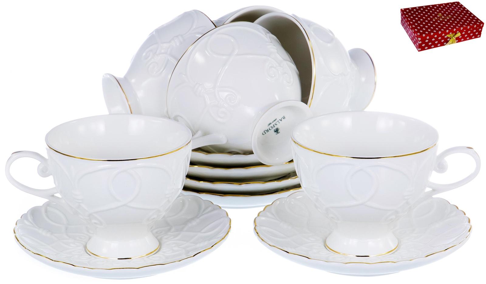 ГРАЦИЯ, набор чайный, 6 чашек 220мл, 6 блюдец, NEW BONE CHINA, белый рельефный рисунок с золотом, прямоугольная подарочная упаковка с окном и бантом, ТМ Balsford, артикул 101-30029