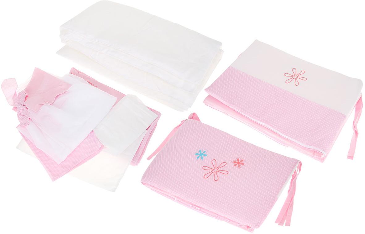 Комплект белья для новорожденных Fairy Белые кудряшки, цвет: белый, розовый. 7 предметов fairy комплект белья для новорожденных белые кудряшки цвет белый зеленый 7 предметов