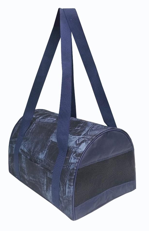 Сумка-переноска для животных малая Теремок, принт джинса, 34*22*21 см. цена