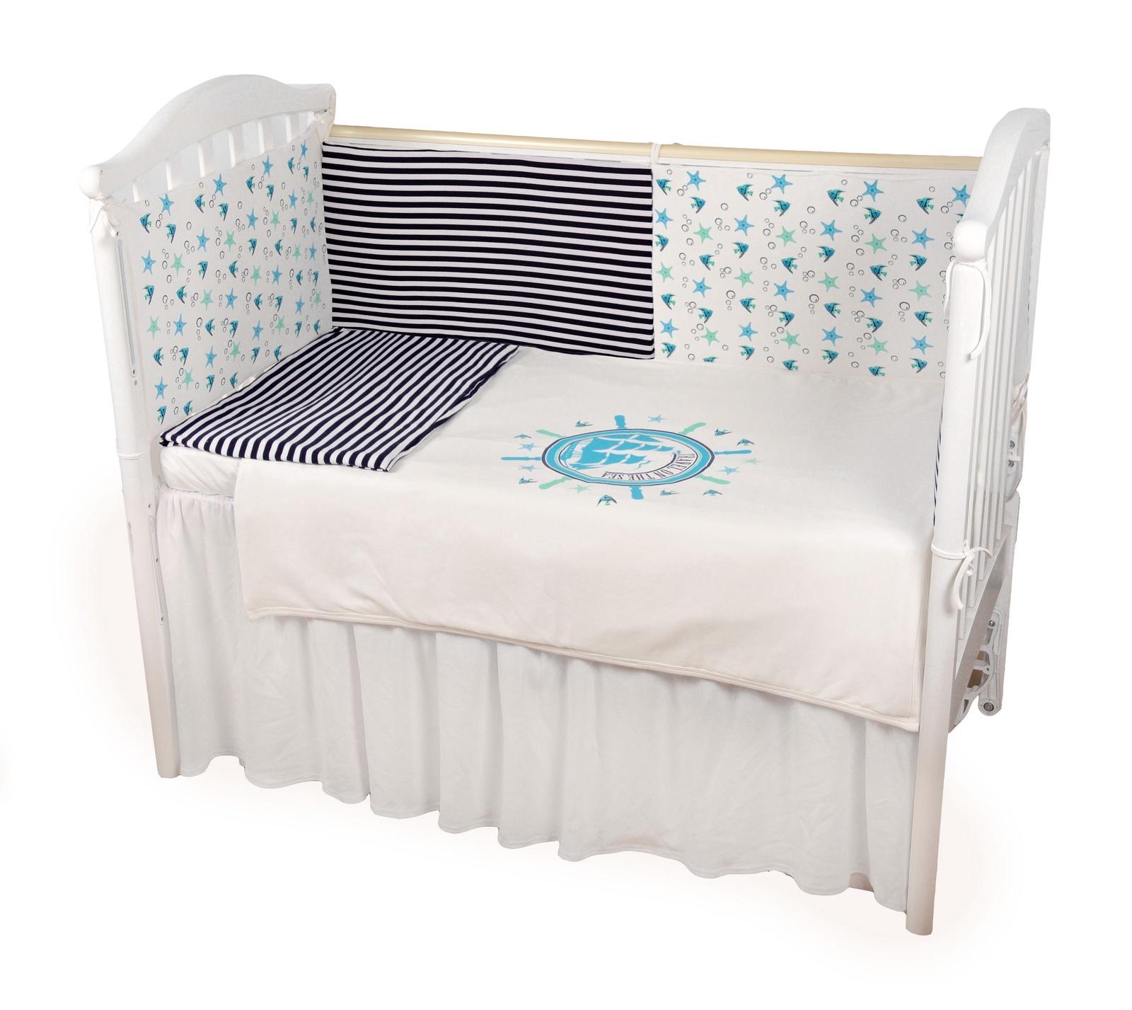 """Комплект в кроватку Childberry """"Морской"""" из 6 предметов + пижама в подарок"""