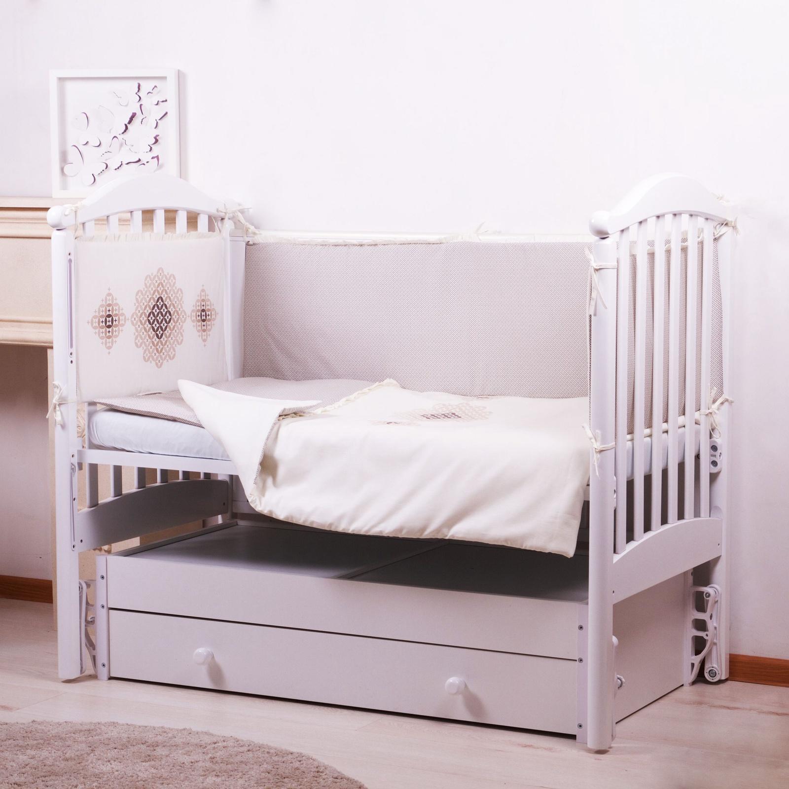 """Комплект в кроватку Childberry """"Кофейный орнамент"""" из 6 предметов"""