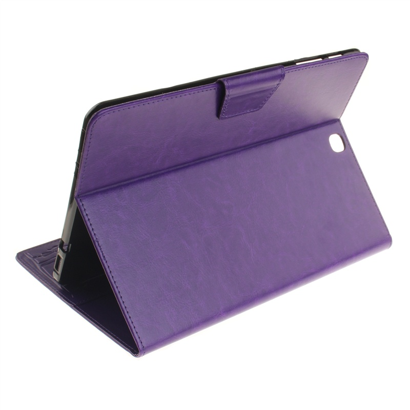 Кожаный чехол-подставка с магнитной застежкой и отделениями для карт для Samsung Galaxy Tab S2 9.7 SM-T815 (фиолетовый)