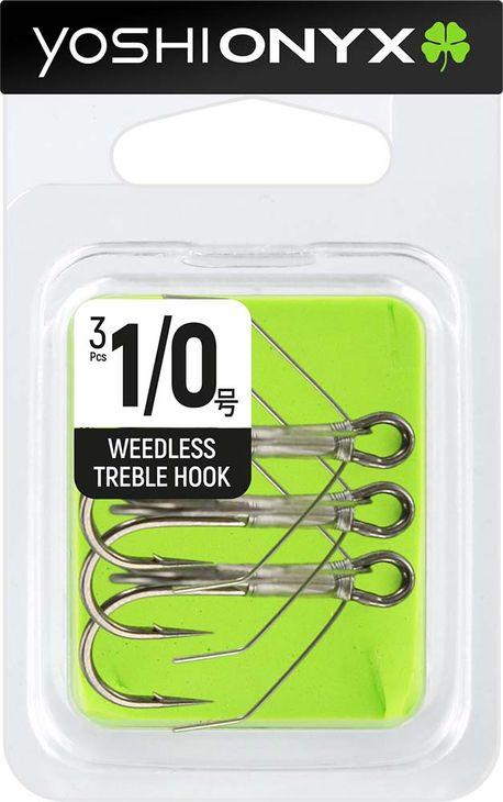Крючок Yoshi Onyx Weedless Treble Hook №1/0, тройной, с незацепляйкой, 158341, 3 шт