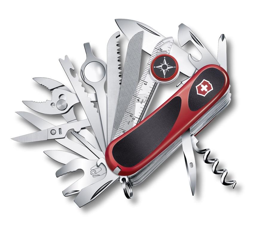 Нож Victorinox EvoGrip S54, 85 мм, 31 функция, красный с черным цена