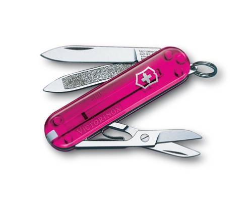 Нож-брелок Victorinox Classic, 58 мм, 7 функций, розовый полупрозрачный