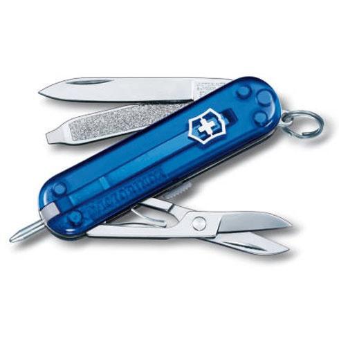 Нож-брелок Victorinox Classic Signature, 58 мм, 7 функций, полупрозрачный синий цена