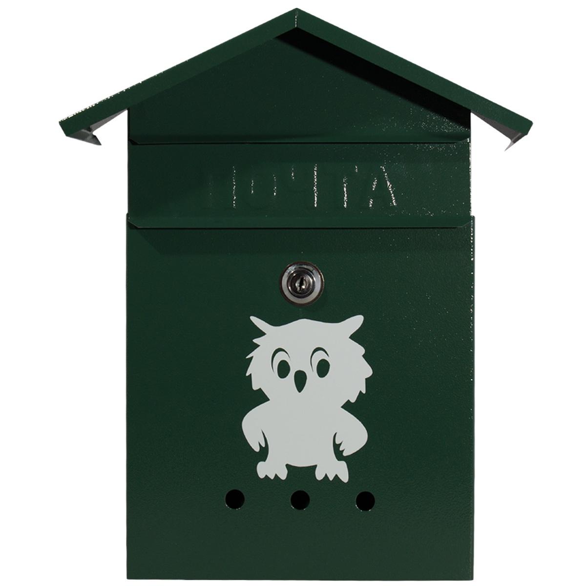 Ящик почтовый с замком Домик зеленый 32х26х9 см