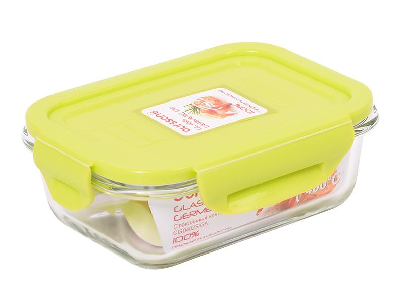 Контейнер пищевой Oursson Glass Germetic Clip, CG0402S/GA, зеленое яблоко, 370 мл