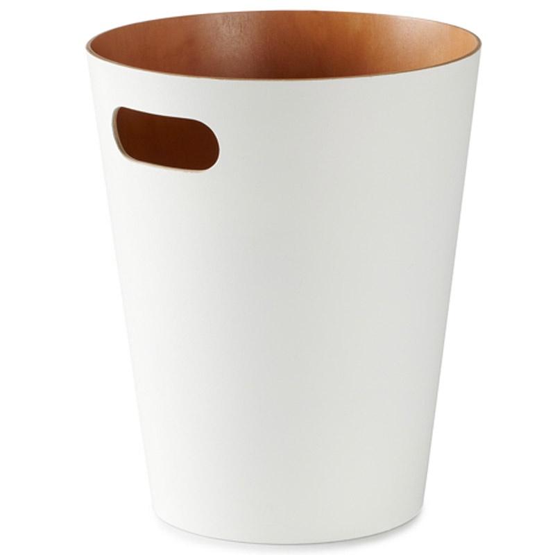 Корзина для мусора Umbra Woodrow белая-никель корзина для бумаг цельнолитая синяя 13 литров
