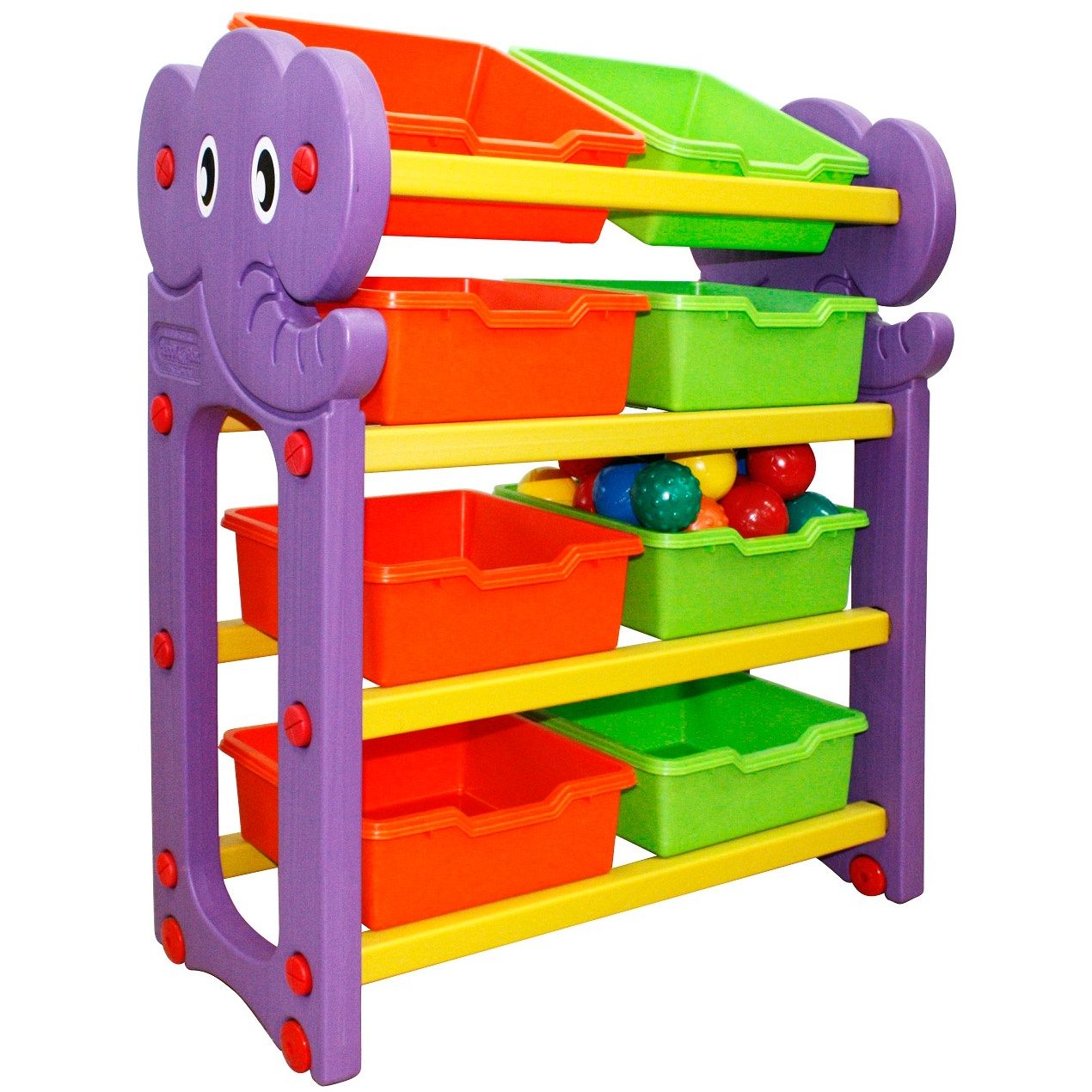 купить Стеллаж для хранения игрушек (4 секции) HAPPY BOX JM-809A по цене 7700 рублей