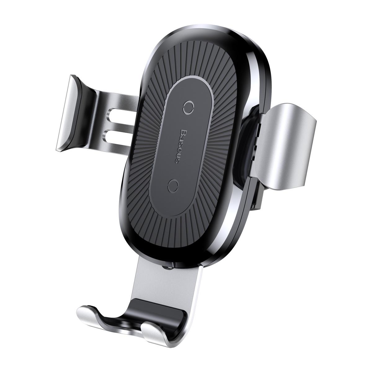 Фото - Автомобильный держатель с беспроводной зарядкой Baseus Wireless Charger Gravity Car Mount - WXYL-0S (Серебристый) автомобильная беспроводная зарядка держатель с сенсорным датчиком smart sensor car wireless charger r1