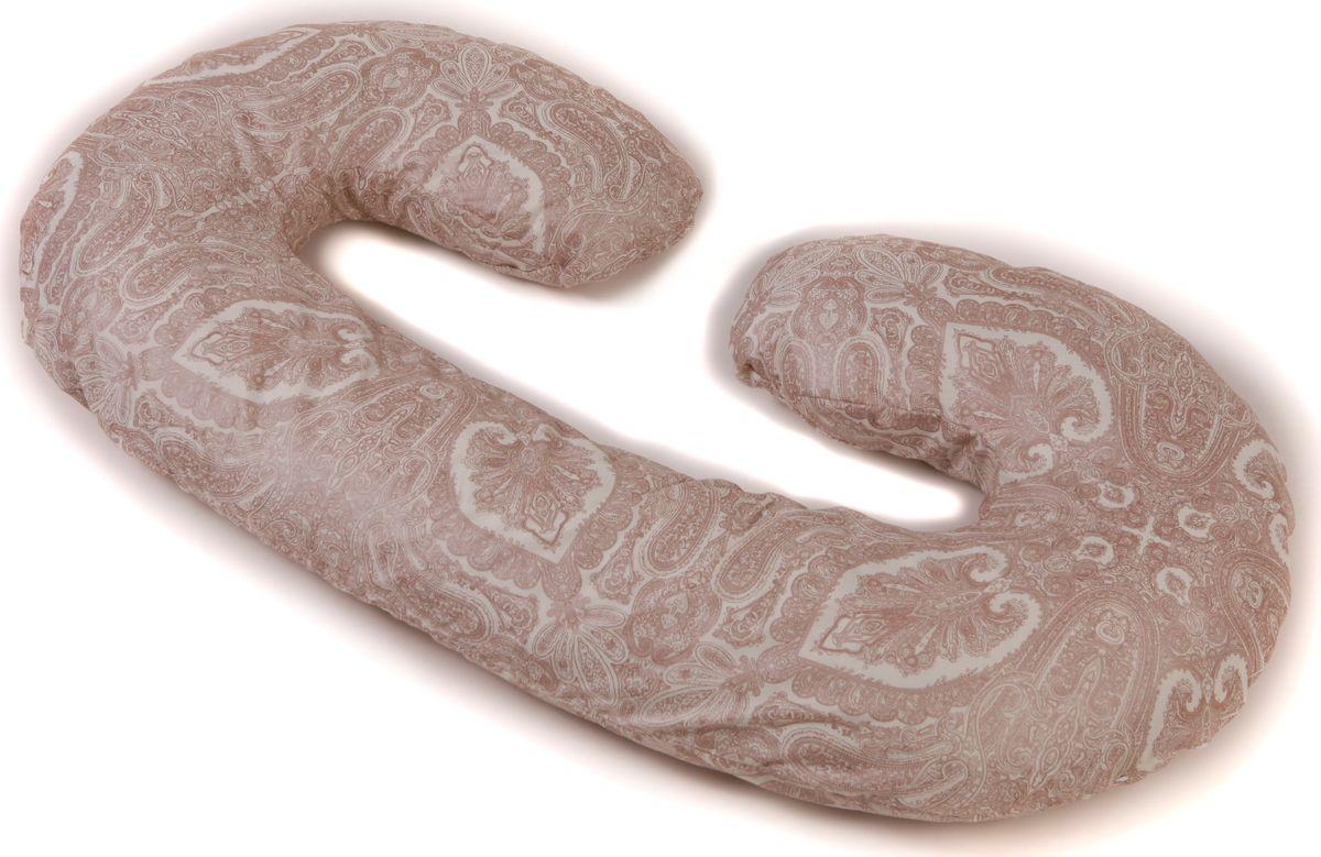 Body Pillow Подушка для беременных холлофайбер C-образная с наволочкой цвет белый коричневый 75 х 140 см