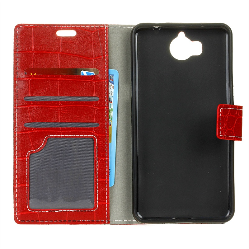 купить Moonmini for Huawei Y5 2017 Crocodile Pattern PU Leather Wallet Case Magnetic Flip Stand Cover with Card Slots Photo Frame (Red) по цене 947 рублей