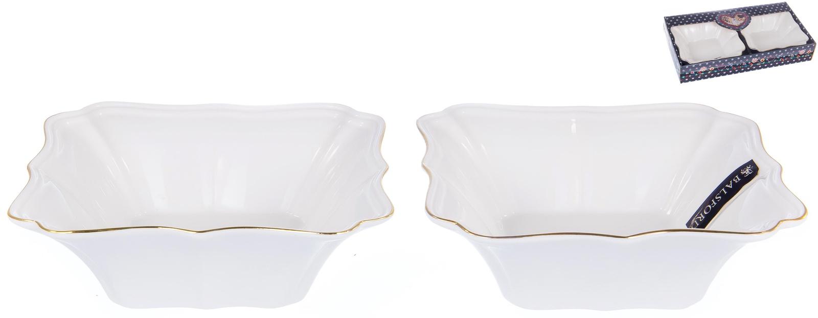 Набор 2 фигурных салатника размером 16см, ГРАЦИЯ, NEW BONE CHINAа NEW BONE CHINA, декор белый с золотом, подарочная упаковка с окном и бантом, ТМ Balsford, 101-01048
